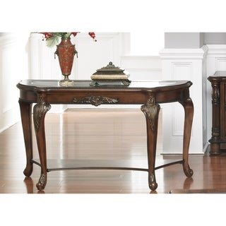 Liberty Antique Cherry and Glass Top Sofa Table