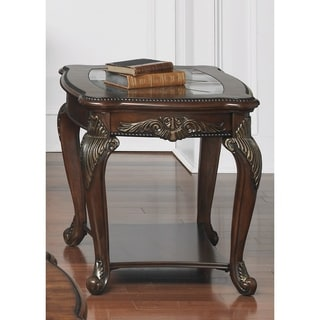 Liberty Antique Cherry and Glass Top End Table