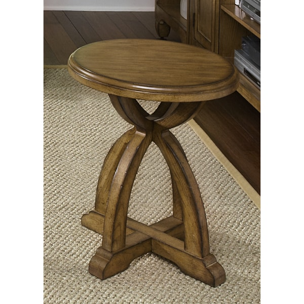 Liberty Distressed Sandstone White Oak Round Chair Side Table