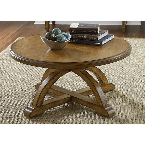 Liberty Distressed Sandstone White Oak Round Cocktail Table