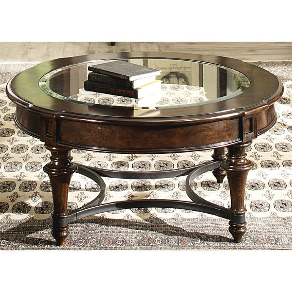 liberty kingston cherry and glass round cocktail table 16624509 shopping. Black Bedroom Furniture Sets. Home Design Ideas