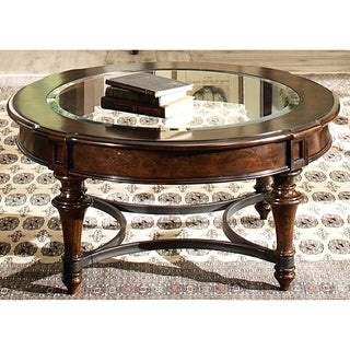 Liberty Kingston Cherry and Glass Round Cocktail Table