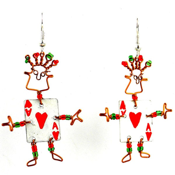 Dancing Girl Card Player Earrings (Kenya)