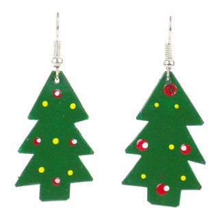 Recycled Tin Christmas Tree Earrings (Kenya)