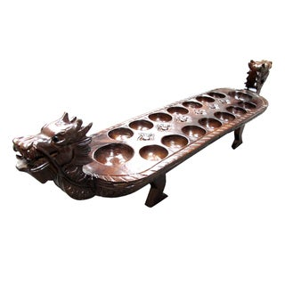Hand-crafted Teak Wood Dragon Mancala Board (Indonesia)