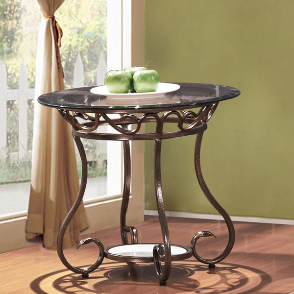 Adeco Glass And Bronze Metal End Side Table 16625364