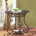 Adeco Glass and Bronze Metal End/ Side Table
