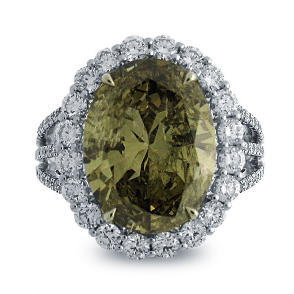 18k White Gold 8 1/3ct TDW Oval Natural Fancy Dark Yellow-brown Diamond Ring (G-H, I1-I2)