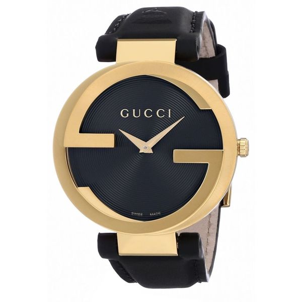 Gucci Women's YA13312 'Grammy' Black Dial Black Leather Strap Quartz Watch