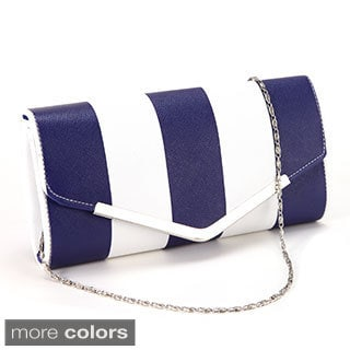 Anladia Striped V-shape Metal Trim Clutch