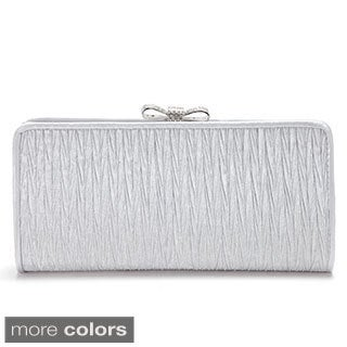 Anladia Crystal Bow Satin Evening Clutch