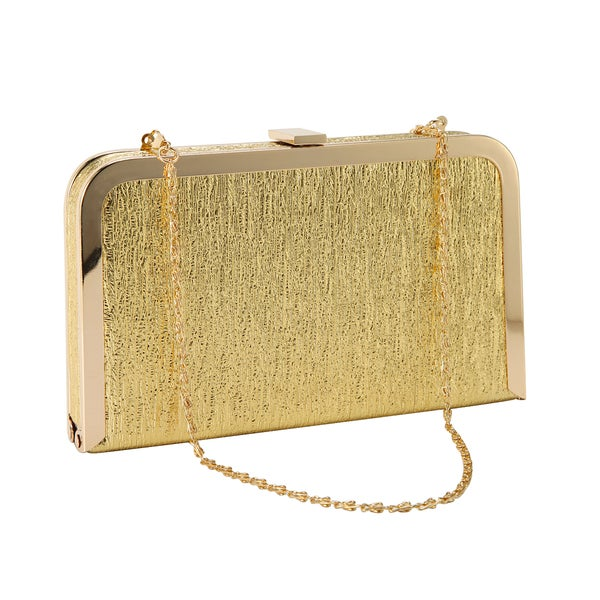 Anladia Metal Framed Shimmery Clutch