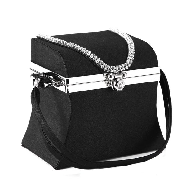 Anladia Structured Satin Evening Bag with Mirror