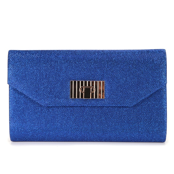 Anladia Shimmery Twist Lock Envelope Clutch