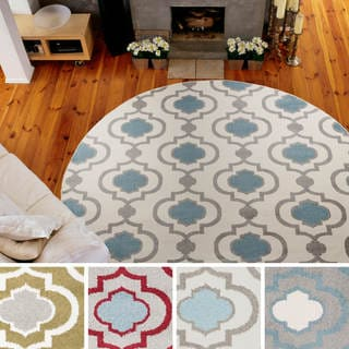 "Meticulously Woven Olathe Transitional Geometric Area Rug (7'10"" Round)"
