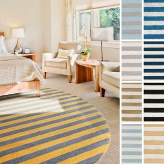 """Meticulously Woven Narbonne Casual Striped Area Rug (7'10"""" Round)"""