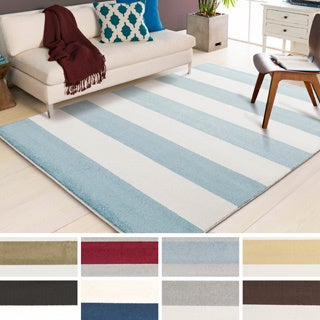 "Meticulously Woven Caen Casual Striped Area Rug (6'7"" x 9'6"")"