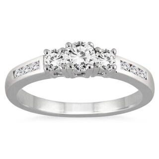 10k White Gold 1/2ct TDW White Diamond 3-stone Ring (I-J, I2-I3)