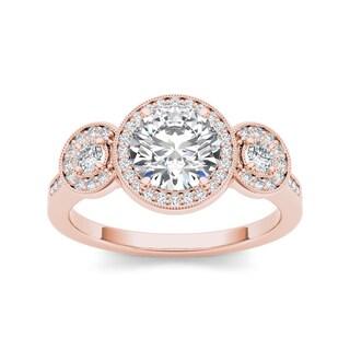 De Couer 14k Rose Gold 1 1/2ct TDW Diamond 3-tone Vintage Ring (H-I, I1-I2)