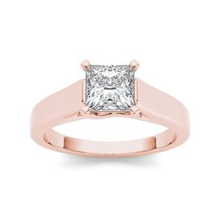 De Couer 14k Rose Gold 1 1/4ct TDW Diamond Princess-cut Solitaire Ring (H-I, I2)
