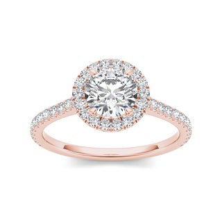 De Couer 14k Rose Gold 1 1/4ct TDW White Diamond Engagement Ring (H-I, I2) with Bonus Necklace
