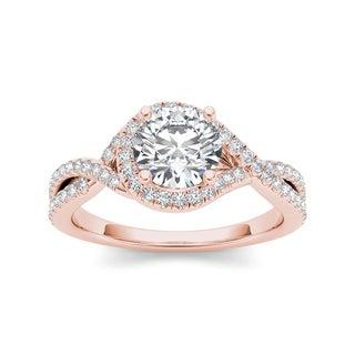 De Couer 14k Rose Gold 1 1/4ct TDW Diamond Twist Engagement Ring (H-I, I2)