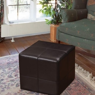 Adeco Brown-black Bonded Leather Cube Ottoman/ Footrest