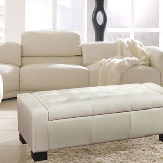 Adeco Cream Bonded Leather Storage Ottoman