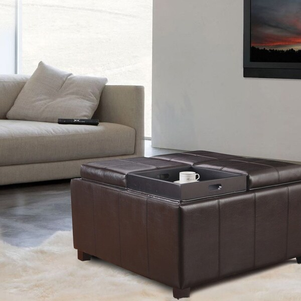 brown leather square storage ottoman 2