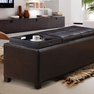 Adeco Brown Bonded Leather Storage Ottoman with 3 Serving Trays