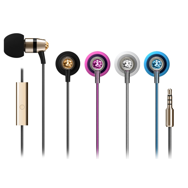 MEElectronics Crystal In-ear Headphones with Microphone Made with Swarovski Crystals