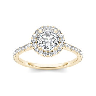 De Couer 14k Yellow Gold 1 1/4ct TDW Diamond Halo Engagement Ring (H-I, I2)