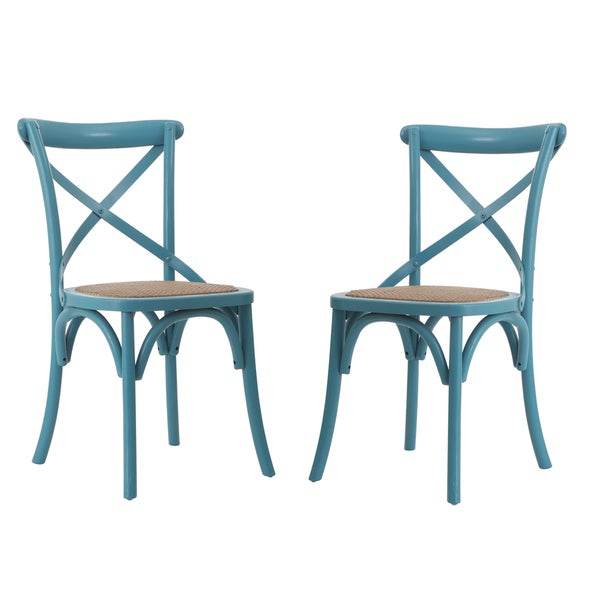 Adeco light blue elm wood rattan vintage style dining chairs set of 2