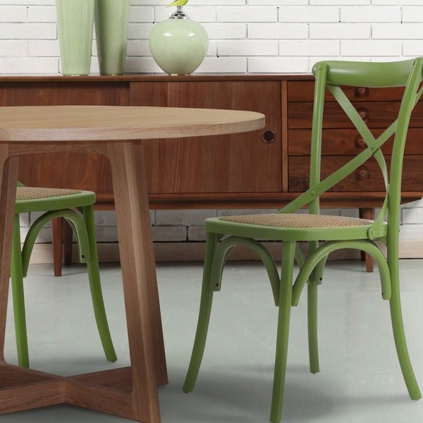 Adeco Elm Wood Muted Green Rattan Modernized Vintage-style Dining Chair (Set of 2)