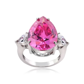 Icz Stonez Sterling Silver 13 1/5ct TGW Pink and White Cubic Zirconia Pear-Shape Cocktail Ring