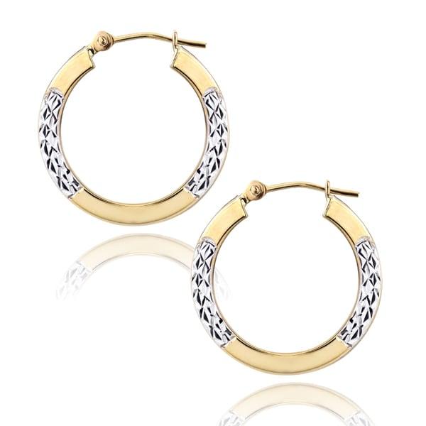 Mondevio 14k Two-tone Gold Hoop Earrings