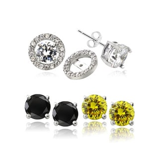 ICZ Stonez Sterling Silver Black, Clear, and Yellow Cubic Zirconia Stud Earrings with Halo CZ Earring Jacket (Set of 3)
