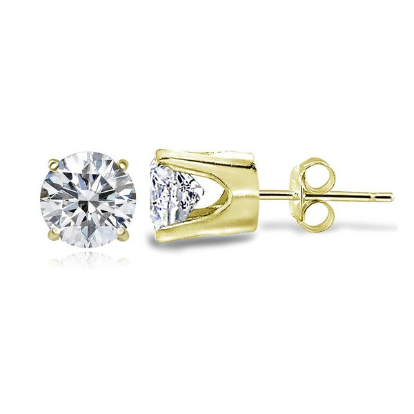 Zirconia Ice 14k Gold Solitaire 7/8ct TGW Swarovski Zirconia 4mm Round Stud Earrings