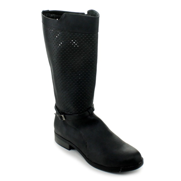Qupid Women's 'Turner-11' Black Perforated Knee-high Boots