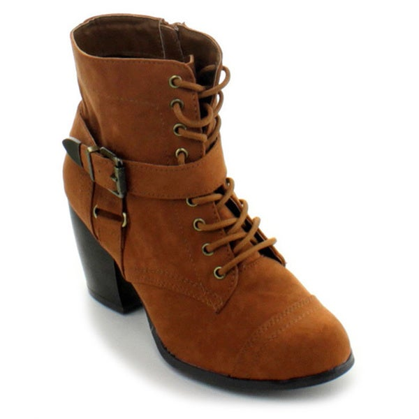 Qupid Women's 'Maze-36' Lace-up Buckle Strap Ankle Booties