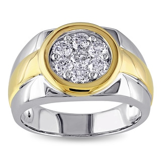 Miadora Signature Collection 10k Tow-tone Gold 1ct TDW Diamond Men's Ring (H-I, I2-I3)