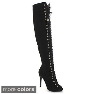 Dollhouse Women's 'Confidence' Over-the-Knee Laced Boots