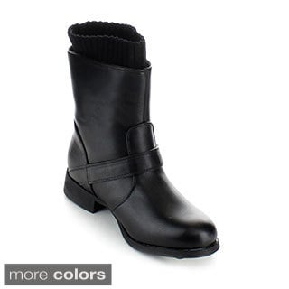 Anna Women's 'Cathy-1' Knit Cuff Mid-calf Combat Boots
