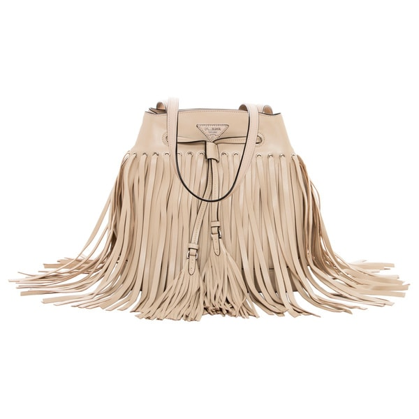Prada Beige Fringed Leather Bucket Bag