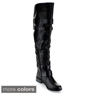 Anna Women's 'Jasper-11' Buckled Over-the-Knee Boots
