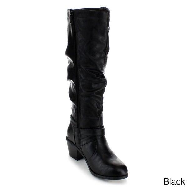 Anna Women's 'Sugar-1' Slouchy Knee-high Riding Boots