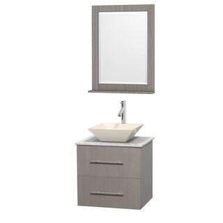Wyndham Collection Centra 24-inch Single Bathroom Vanity in Grey Oak, w/ Mirror (Bone Porcelain or White Porcelain)