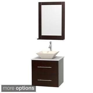 Wyndham Collection Centra 24-inch Single Bathroom Vanity in Espresso, w/ Mirror (Bone Porcelain or White Porcelain)