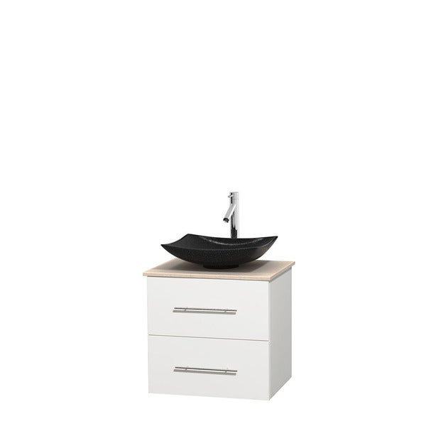 Wyndham Collection Centra 24-inch Single Bathroom Vanity in White, No Mirror (Black Granite, Ivory Marble or White Carrera)