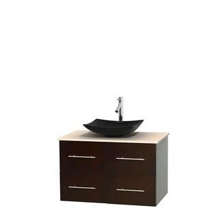 Wyndham Collection Centra 36-inch Single Bathroom Vanity in Espresso, No Mirror (Black Granite, Ivory Marble or White Carrera)